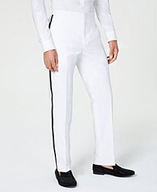 Sean John Men's Classic-Fit White Plain Tuxedo Pants
