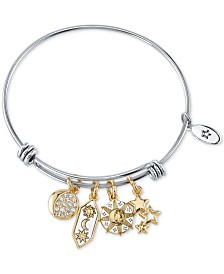 Unwritten Crystal Sun, Moon & Stars Charm Bangle Bracelet in Stainless Steel & Gold-Tone