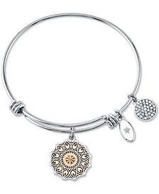 Unwritten Wildflower Charm Bangle Bracelet in Stainless Steel & Rose Gold-Tone