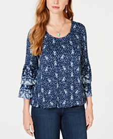 Style & Co Printed Tiered-Sleeve Top, Created for Macy's