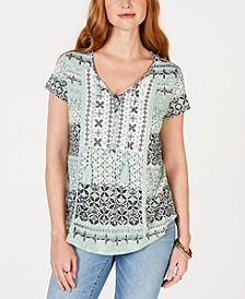 Style & Co Crochet-Seamed Printed Peasant Top, Created for Macy's