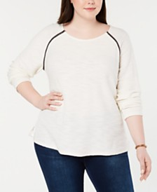 Style & Co Plus Braided-Trim Scoop-Neck Top, Created for Macy's