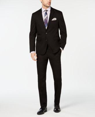 Men's Slim-Fit Stretch Wrinkle-Resistant Black Solid Suit Jacket