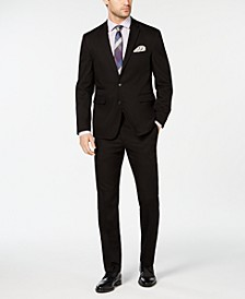 Men's Slim-Fit Wrinkle-Resistant Black Solid Suit Separates