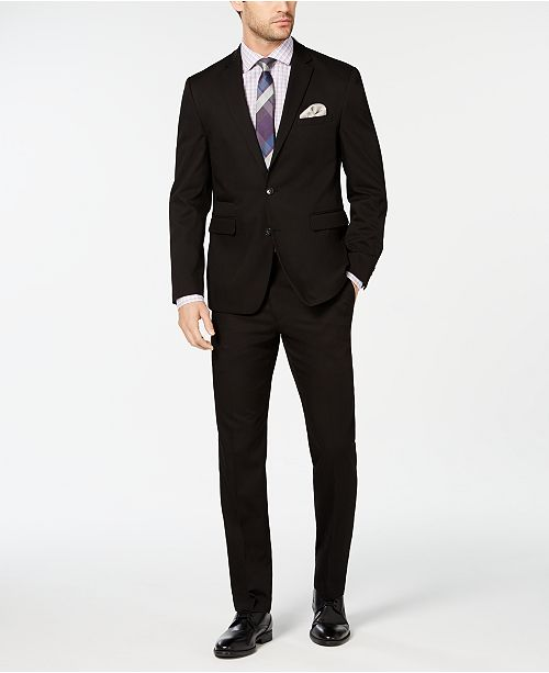 Vince Camuto Men's Slim-Fit Wrinkle-Resistant Black Solid Suit Separates