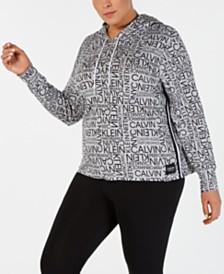 Calvin Klein Performance Plus Size Logo-Print Varsity-Stripe Hoodie