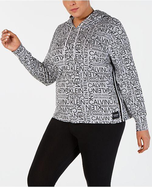 928e8a1f6 Calvin Klein Plus Size Logo-Print Varsity-Stripe Hoodie - Tops ...