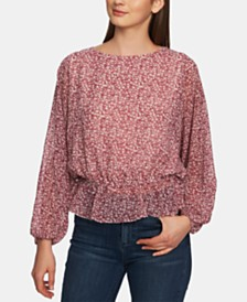 1.STATE Long-Sleeve Wildflower-Print Top