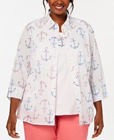 Alfred Dunner Plus Size Smooth Sailing Anchor Layered-Look Top