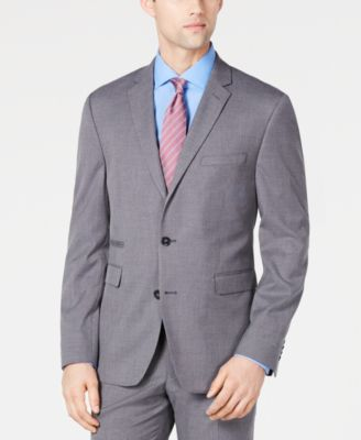 Men's Slim-Fit Stretch Wrinkle-Resistant Gray Textured Solid Suit Jacket