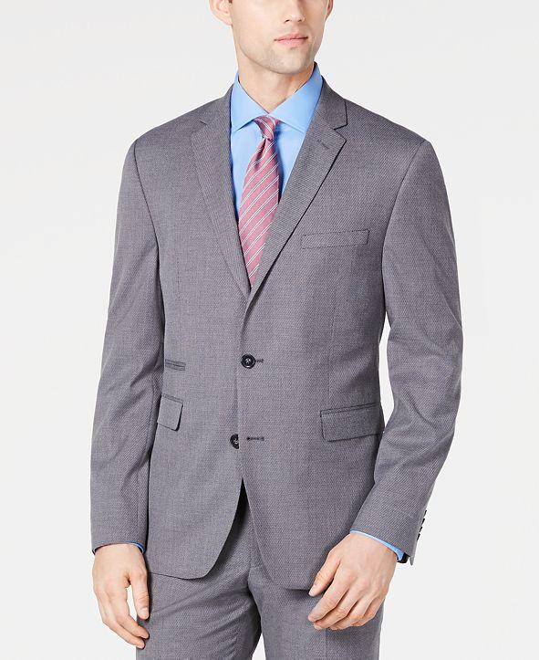 Vince Camuto Men's Slim-Fit Stretch Wrinkle-Resistant Gray Textured Solid Suit Jacket