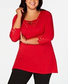 Belldini Plus Size Lace-Up Grommet Tunic