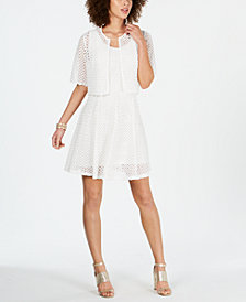Robbie Bee Petite Crochet-Lace Dress & Jacket