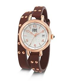 Ladies' Melissa Stud Double Wrap in Cognac Leather Watch