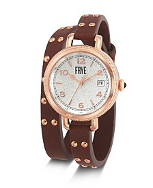 Frye Ladies' Melissa Stud Double Wrap in Cognac Leather Watch