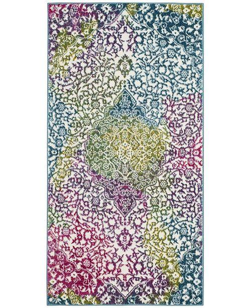 "Safavieh Watercolor Ivory and Fuchsia 2'7"" x 5' Area Rug"