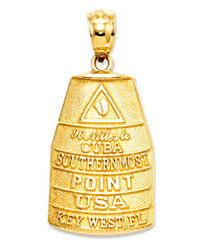 14k Gold Charm, Southern Most Point USA Key West Charm