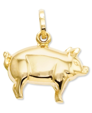14k Gold Charm, Pig Charm