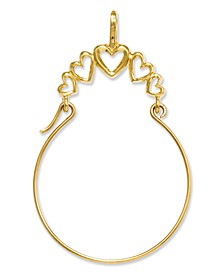14k Gold Charm Holder, Polished 5-Heart Charm Holder