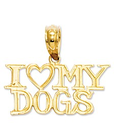 14k Gold Charm, I Heart My Dogs Charm