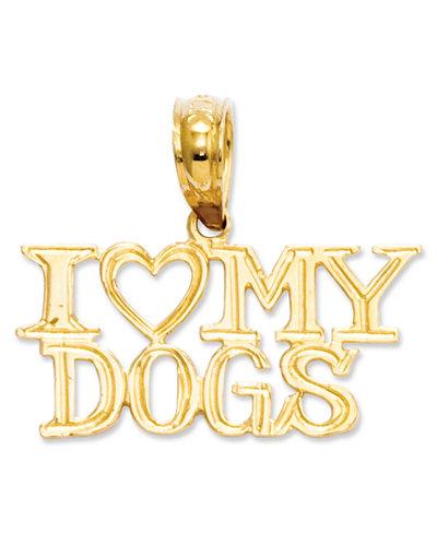 14k Gold Charm, I Heart My Dogs Charm