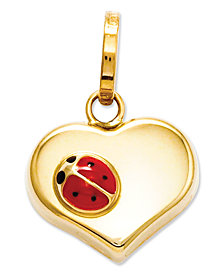 14k Gold Charm, Heart and Ladybug Charm