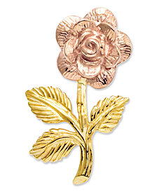 14k Gold and 14k Rose Gold Charm, Rose Flower Charm