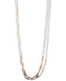 """lonna & lilly Gold-Tone White 34"""" Long Multi-Row Necklace"""
