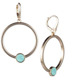 "DKNY Gold-Tone & Stone Large Drop 2"" Hoop Earrings, Created for Macy's"