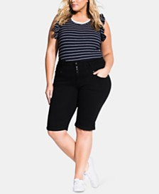 City Chic Trendy Plus Size High-Waist Skinny Shorts