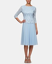 54db6bfea068f Alex Evenings Sequined Lace Contrast Dress