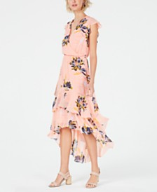 Bar III Floral-Print Tiered-Skirt Dress, Created for Macy's