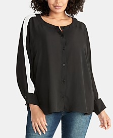 RACHEL Rachel Roy Striped-Sleeve Blouse