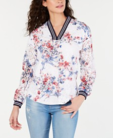 Tommy Hilfiger Printed Contrast Top, Created for Macy's