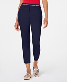 Tommy Hilfiger Ribbon-Trim Ankle Pants, Created for Macy's