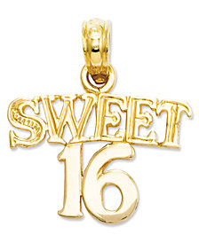 14k Gold Charm, Sweet 16 Charm