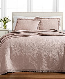 CLOSEOUT! Crochet & Ruffle Bedspread and Sham Collection, Created for Macy's