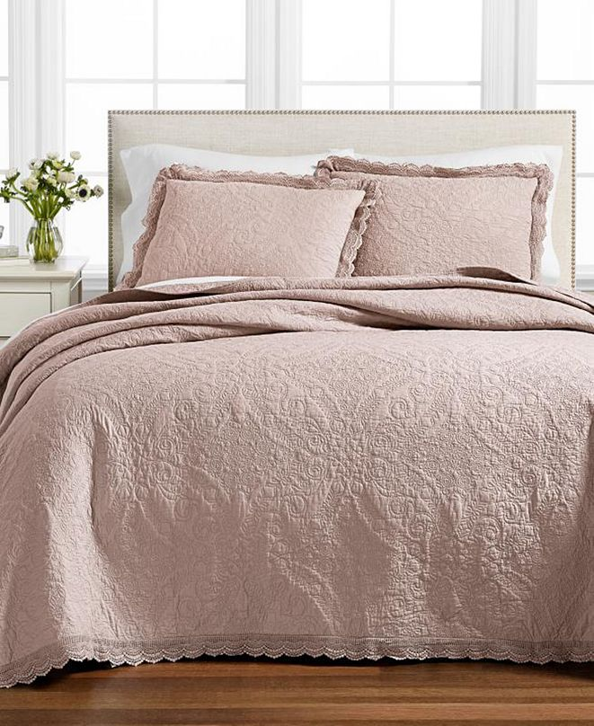 Martha Stewart Collection CLOSEOUT! Crochet & Ruffle Bedspread and Sham Collection, Created for Macy's