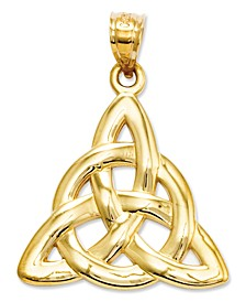 14k Gold Charm, Polished Trinity Charm