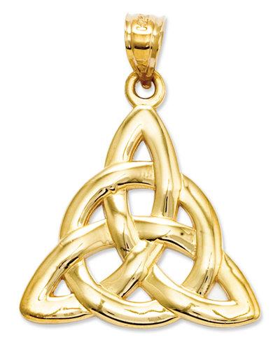 14k Gold Charm, Polished Trinity Charm