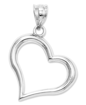14k White Gold Charm, Open Heart Charm