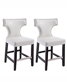 Counter Height Barstool in Metal Stud Bonded Leather, Set of 2
