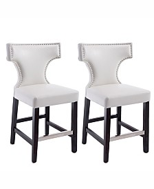 Corliving Counter Height Barstool in Metal Stud Bonded Leather, Set of 2