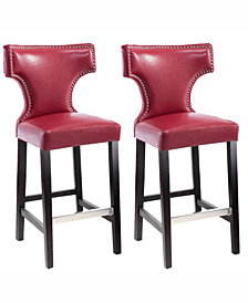 Corliving Bar Height Barstool in Metal Stud Bonded Leather, Set of 2