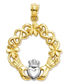 14k Gold and Sterling Silver Charm, Claddagh Charm