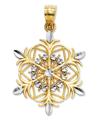 14k Gold and Sterling Silver Charm, Snowflake Charm