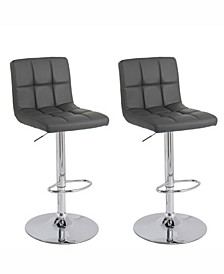 Medium Back Adjustable Barstool in Bonded Leather, Set of 2