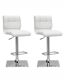 Corliving Adjustable Curved Back Barstool in Bonded Leather, Set of 2