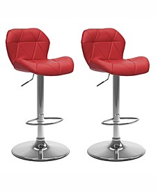Adjustable Hex Design Barstool in Bonded Leather, Set of 2