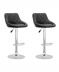 Diamond Back Adjustable Barstool in Leatherette, Set of 2